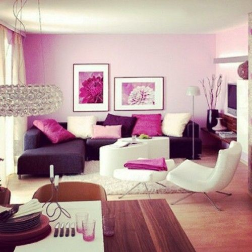 Elegant Royal Violet With Purple Living Room.