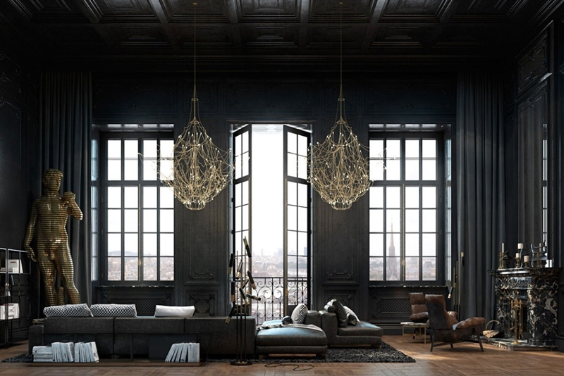 black color in a large, beautiful interior