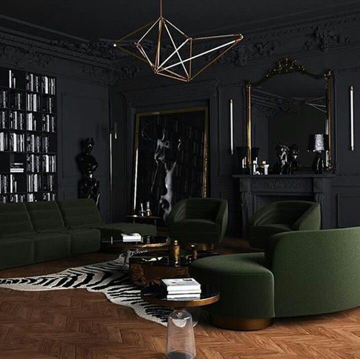 dark living room with a lighter accent on the floor