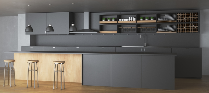black kitchen furniture and accessories