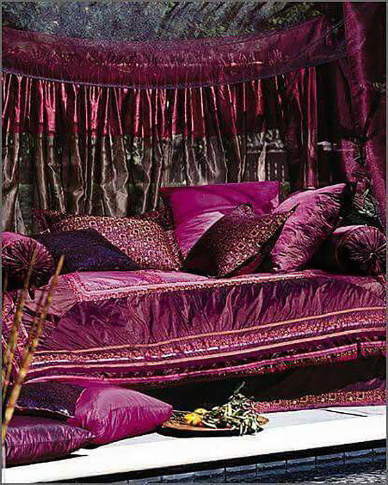 a wealth of marvelous violet in various decorative fabrics